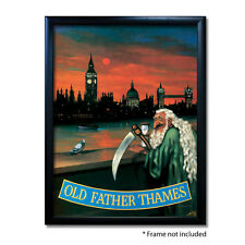 OLD FATHER THAMES PUB SIGN POSTER PRINT | Home Bar | Man Cave | Pub Memorabilia