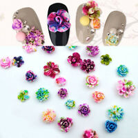 10pcs 3D Flowers Decals Acrylic Resin Nail Art Rose Flower Beads Tips DIY Craft
