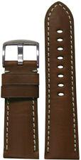24mm Panatime Medium Brown HZ Leather Watch Band w White Stitching 24/22 125/75