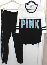 NEW Victoria's Secret PINK Bling Sequin Outfit Track Pants Logo Tee Black Large
