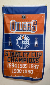 Edmonton Oilers Stanley Cup Flag 3X5 FT NHL Banner Polyester