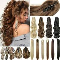 Large Thick Claw Jaw Clip in Ponytail Hair Extension Natural As Human Hairpeices