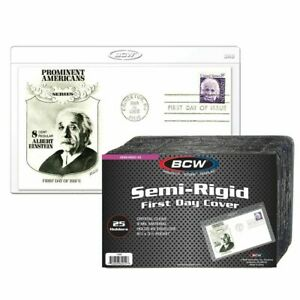 Pack of 25 BCW First Day Cover or Postcard Semi Rigid Clear Plastic Holders 1-SR