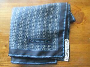 CHRISTIAN DIOR dark blue silk pocket square / handkerchief w microprint