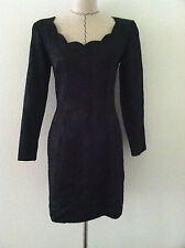 Vintage 80's black dress long sleeve mini scallop neckline brocade size S Elise