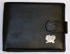 Welsh Dragon design BLACK LEATHER WALLET ,with silver Dragon badge, Cymru, Wales