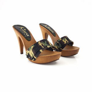 Clogs Camouflage Made IN Italy 35 Al 42 - Heel 11-K21301 Cam