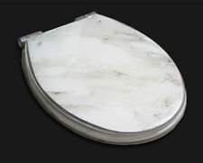 White Marble Print Bathroom Safety Resin Toilet Cover Seat Nice Decoration