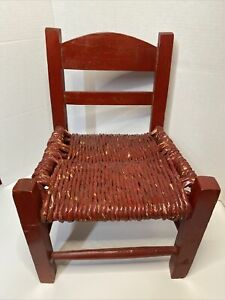 """VINTAGE Handmade Childs Wicker Red Chair 10.5"""" wide x 15"""" High"""