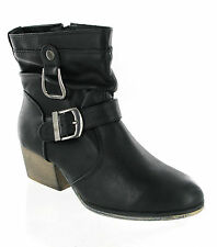 Fashion Cowboy Buckle Ankle Casual Zip Up Womens Block Heel Boots UK 3-8