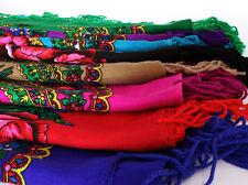 Beautiful shawl scarf 14 col flower patterns fringes POLISH folk cotton vintage