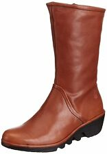 Fly London Pama Chaussures Femme 40 Bottes Bottines Cognac Camel Brun Tan Neuf