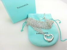 Tiffany & Co Sterling Silver Peretti Open Double Heart Mesh Bracelet Pouch & Box