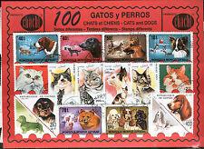 100 sellos diferentes mundiales en usado @@ Tema : GATOS Y PERROS @@