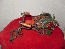 Old Metal And Wicker Tricyles Christmas Decor