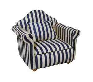 DOLLS HOUSE 1/12 SCALE BLUE AND WHITE STRIPED ARM CHAIR