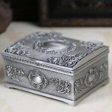 Metal Vintage Jewelry Case Trinket Box Flower Carved Design Zinc Alloy Small