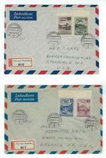 Two 1951 Cerveny Kostelec Czechoslovakia Registry Airmail to Amawalk NY #C36-C39
