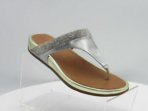 Fitflop Banda Sz 7 M Silver Micro Crystal Toe-Thong Sandals Shoes For Women $140