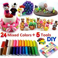 24Pcs Farben Polymer Clay Ton Soft Effect Modelliermasse Fimo Ofen Knete Set