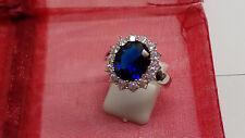 Saphir Diamanten Ring 18K/750-er Weißgold gefühlt Gr.19,1 (60) 9 Damen NEU!