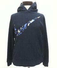NIKE Hoodie Blue Large Swoosh LOGO Fleece Pullover L/S Sweatshirt Women's S $85