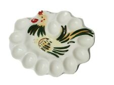 Vintage Rooster Chicken Ceramic Deviled Egg Dish Platter Collectible Farmhouse