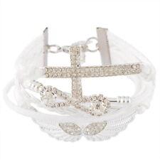 Damen Armband Weiß Unendlich Kreuz Strass Bracelet Surferarmband Geschenk WOW