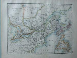 1899 VICTORIAN MAP ~ CANADA EAST & NEWFOUNDLAND NOVA SCOTIA NEW BRUNSWICK