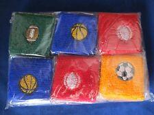 "Set of 12 Sport Balls Athletic Sweat Wristbands Baseball Football Soccer 3"""