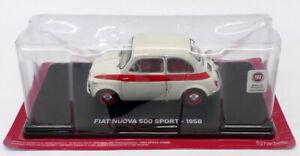 Hachette 1/24 Scale AL27220A - 1958 Fiat Nuova 500 Sport - White/Red