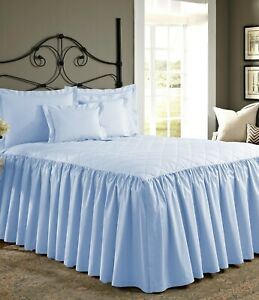 """30"""" Drop Dust Ruffle Quilted Bed Spread with Pillow sham 800 TC Egyptian Cotton"""