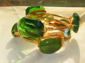 Triple stack, The St. Patty's Day , sea glass wire-wrapped bangle, bracelet,