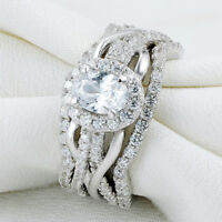 Newshe Wedding Engagement Ring 3pcs Set 925 Sterling Silver Oval White Cz 5-10