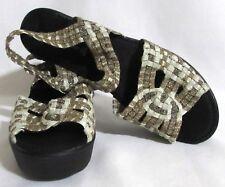 NEW Womens Ladies STEVE MADDEN Off White & Gold Platform Heels Sandals Shoes 8.5