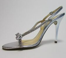 Ivanka Trump Silver Leather Crystal Accent Strappy Shoes Sz 6 NWB