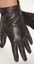 Handschuhe Leder Damen Kaiser Finger ohne Futter Raffung Dk.Braun 7,5 Edel
