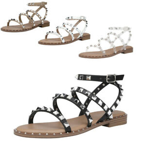 DREAM PAIRS Women Gladiator Summer Rhinestone Ankle Strap Flat Sandals Shoes US