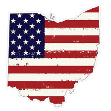 Ohio State (J36) USA Flag Distressed Vinyl Decal Sticker Car/Truck Laptop/Netboo