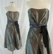 Vera Wang Lavender Label 4 Silver Silk Strapless Dress Jeweled Belt PROM Formal