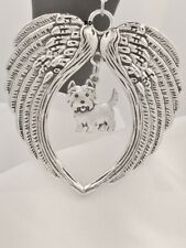 Large Angel Wings with West Highland Terrier Dog Charm Leather Necklace