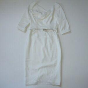 NWT Black Halo Jackie in Winter White Three Quarter Sleeve Sheath Dress 10 $375
