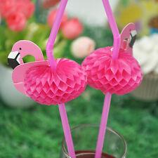 10PCS 3D Flamingo Pink Plastic Umbrella  Drinking Straws Party Cocktail Supplies