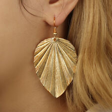 Boho Gold Plated Leaf Drop Dangle Earrings for Women Girl Dangling Piercing