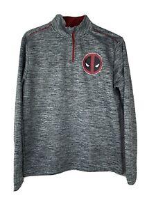 Marvel Deadpool 1/4 Quarter Zip Men's Pullover Sweatshirt Gray Size Small