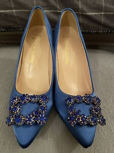 Ladies Royal Blue Size 5.5 Heels Shoes **MANOLO SEX & THE CITY STYLE** BRAND NEW