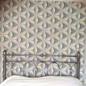 3D Geometric Wallpaper Retro Abstract Flower Olive Teal Grey Feature Embossed