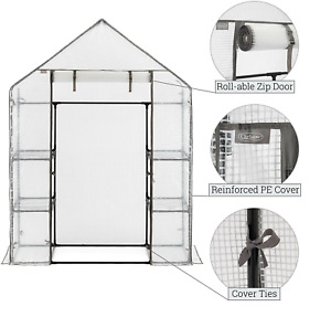 OUTDOOR TOMATO GARDEN STEEL FRAME GROW HOUSE GREENHOUSE INCLUDES WHITE PE COVER