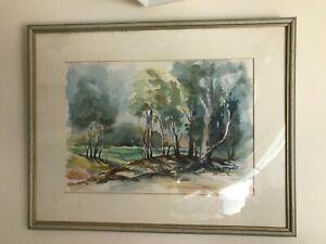 Original watercolour painting vintage landscape, framed  in glass & signed