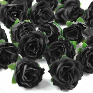 Simulated Silk Black Rose Bud Artificial Flower Halloween Party Decor 24pc LOT